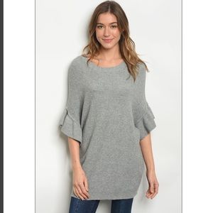 Sweaters - Grey sweater w ruffle bell sleeves. Various sizes